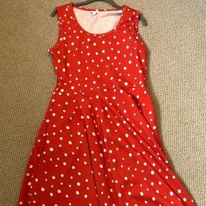 Red and white polka dot Lularoe tank dress